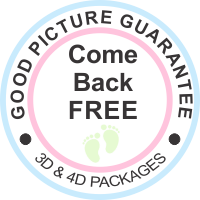 We offer a good picture guarantee on all HD 3D and 4D Packages.  If your baby is not in a good position to get a good picture come back free at a different time.   Some restrictions apply.